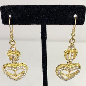 Fashion Jeweled Crown & Heart Hook Earrings